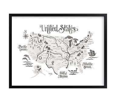 Pirate Map Wall Art by Minted(R), Black, 40x30 - Pottery Barn Kids