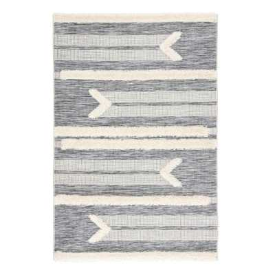 "Gray and Cream Shag Stripe Hanai Indoor Outdoor Patio Rug - 7Ft10""x10Ft10"" - World Market/Cost Plus"