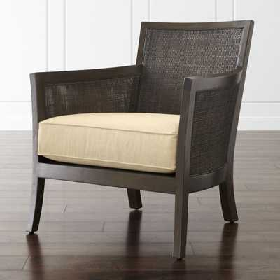 Blake Carbon Grey Rattan Chair with Fabric Cushion - Crate and Barrel