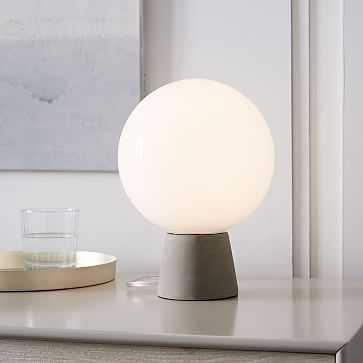 Nova Table Lamp, Accent Concrete Base/Milk Glass - West Elm