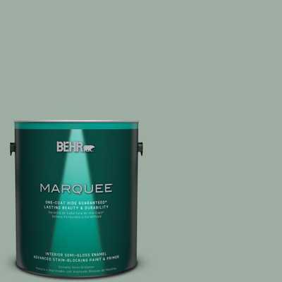 BEHR MARQUEE 1 gal. #N420-3 Misty Moss One-Coat Hide Semi-Gloss Enamel Interior Paint, Greens - Home Depot