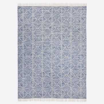 Reflected Diamonds Indoor/Outdoor Rug, Officer Blue, 8'x10' - West Elm