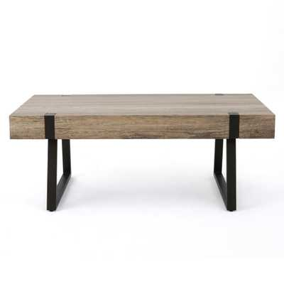 Noble House Canyon Gray Faux Wood Rectangular Coffee Table - Home Depot