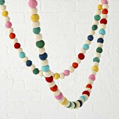Rainbow Felt Ball Garland - Crate and Barrel