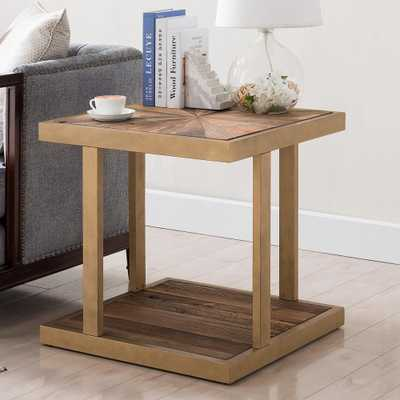 Southern Enterprises Grandth Natural Reclaimed Wood With Gold End Table, Natural w/ gold finish - Home Depot