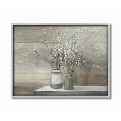 Pussy Willow Still Life - Floater Frame Print on Canvas - Birch Lane