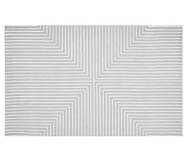 Concentric Squares Rug, 8x10', Gray/White - Pottery Barn Kids