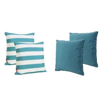 Noble House Coronado Teal Outdoor Throw Pillow (4-Pack), Dark Teal - Home Depot