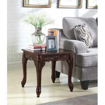 Longoria Traditional Ornate Detailing Wood End Table - Wayfair