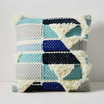"""Roar + Rabbit Stacked Horizon Fringe Pillow Cover, 20""""x20"""", Skylight Blue - West Elm"""