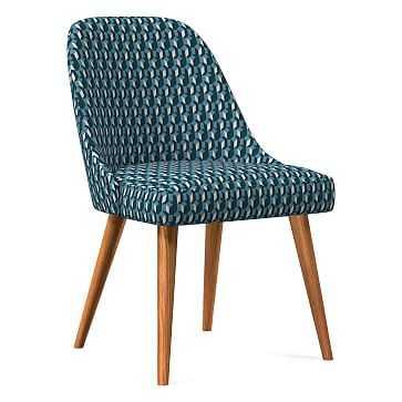 Midcentury Upholstered Dining Chair, Wood Leg, Blue Teal, Block Geo, Pecan - West Elm