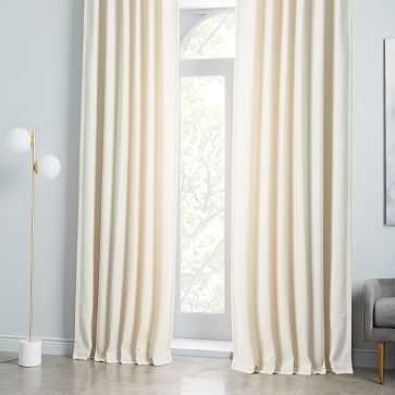 "Worn Velvet Curtain, Blackout/Ivory, 48""x108"" - West Elm"