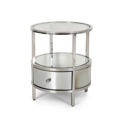 Cameron Modern Round End Table with Tempered Glass Drawers - Wayfair