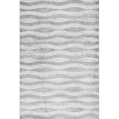 Lada Abstract Waves Gray/White Area Rug - Wayfair