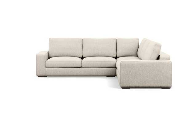 Ainsley Corner Sectional with Wheat Fabric and Oiled Walnut legs - Interior Define