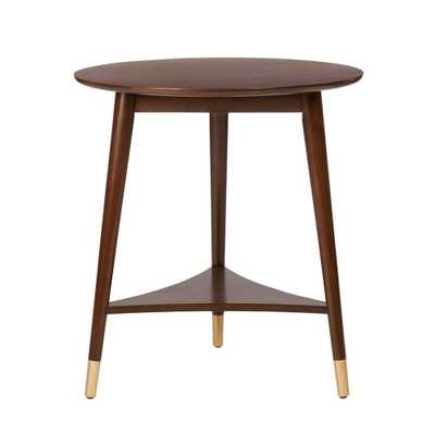 StyleWell Ramsey Round Sable Brown Wood End Table with Brass Caps (22 in. W x 24 in. H) - Home Depot
