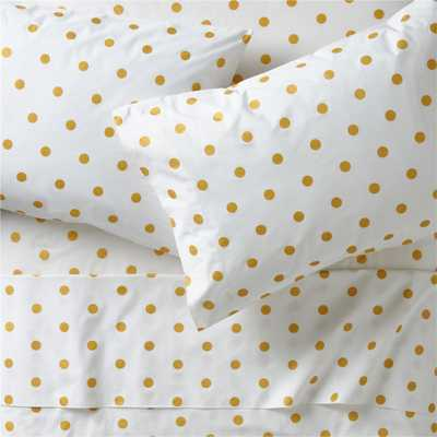 Organic Gold Polka Dot Full Sheet Set - Crate and Barrel