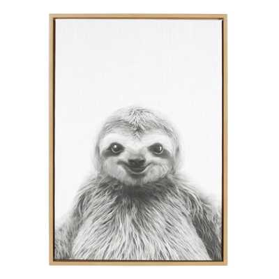 """33 in. x 23 in. """"Sloth"""" by Tai Prints Framed Canvas Wall Art, Natural - Home Depot"""