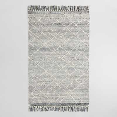 Gray and Ivory Diamond Sweater Wool Hunter Area Rug - 5Ftx8Ft by World Market 5Ftx8Ft - World Market/Cost Plus