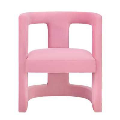 Ada Pink Velvet Chair - Home Depot
