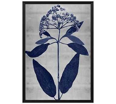 """Indigo Silver Leaf 2 Framed Print, 20 x 28"""" - Pottery Barn"""