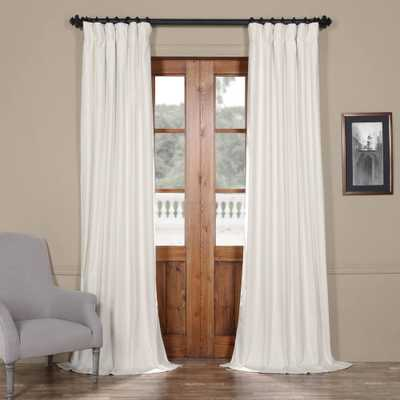 Exclusive Fabrics & Furnishings Fresh Popcorn Ivory Solid Cotton Curtain - 50 in. W x 96 in. L (1-Panel) - Home Depot