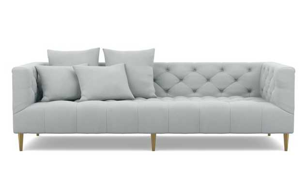 Ms. Chesterfield Sofa with Grey Ore Fabric and Brass Plated legs - Interior Define