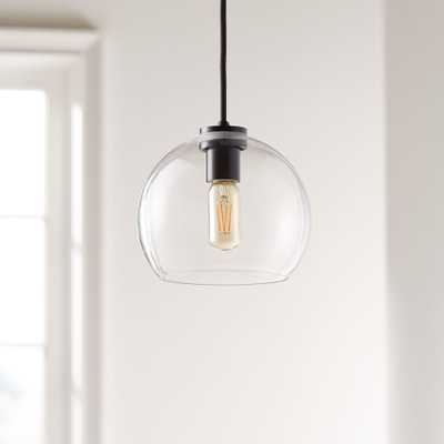 Arren Black Single Pendant with Clear Round Shade - Crate and Barrel