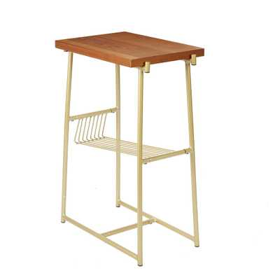Silverwood Alden Gold and Walnut Industrial Accent Table with Wire Magazine Rack - Home Depot