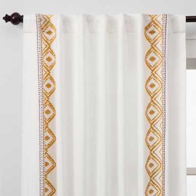 Global Border Curtain Panel White/Yellow 95 - Opalhouse, White Pink Yellow - Target