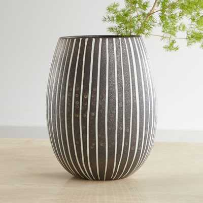 Bolton Black and White Striped Vase - Crate and Barrel