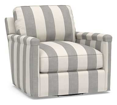 Tyler Square Arm Upholstered Swivel Armchair without Nailheads, Polyester Wrapped Cushions, Premium Performance Awning Stripe Light Gray/Ivory - Pottery Barn