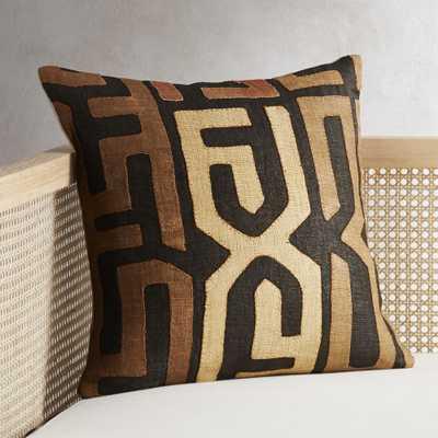 """18"""" Dark Kuba Cloth Pillow with Feather-Down Insert"" - CB2"