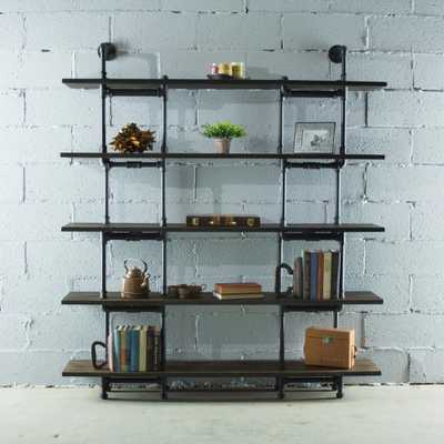 Furniture Pipeline Eugene Modern Industrial, Black 64 in. Large Storage 5-Shelf Pipe Bookcase Etagere-Metal-Reclaimed/Aged Wood, Hammered Black Fittings & Aged Black Pipes With A Dark Brown Stain & Reclaimed Finish - Home Depot