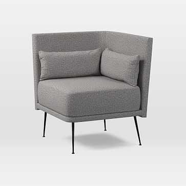 Modern Banquette, Round Corner, Deco Weave, Feather Gray, Burnished Bronze, Poly - West Elm