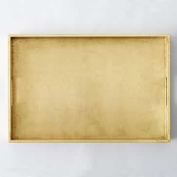 "Reclaimed Wood Lacquer Tray, 18""x 28"", Gold - West Elm"