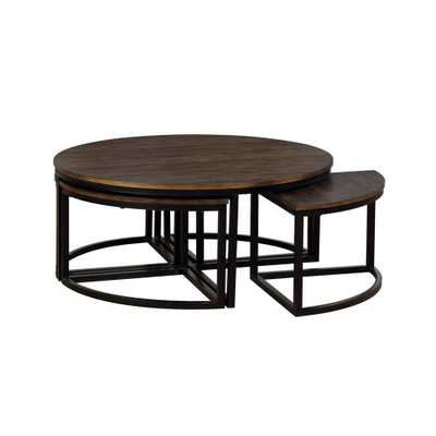 Arcadia Antiqued Mocha 42 in. Acacia Wood Round Coffee Table with Nesting Tables - Home Depot