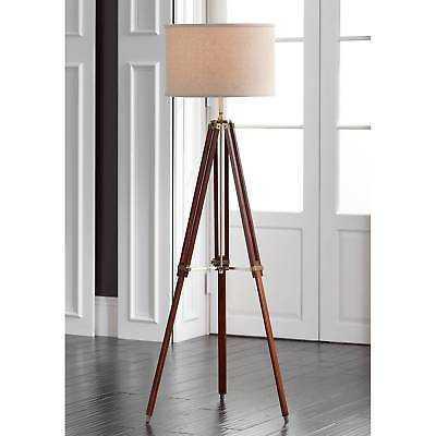 Tripod Floor Lamp Cherry Wood Beige Linen Drum Shade For Living Room Reading - eBay