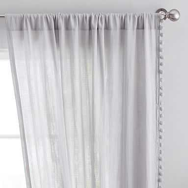 "Side Pom Sheer Curtain, 96"", Light Gray (Single Panel) - Pottery Barn Teen"