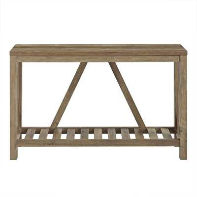 52 in. Rustic Oak A-Frame Rustic Entry Console Table - Home Depot