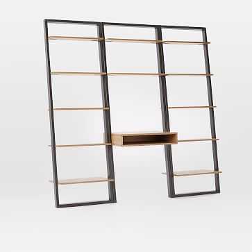 Ladder Shelf Storage Desk Set 2, Wall Desk + 2 Wide Shelves, Sand/Stone - West Elm