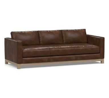 """Jake Leather Grand Sofa 95.5"""" with Wood Legs, Polyester Wrapped Cushions, Vintage Cocoa - Pottery Barn"""