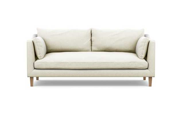 Caitlin by The Everygirl Sofa with Vanilla Fabric, Natural Oak legs, and Bench Cushion - Interior Define