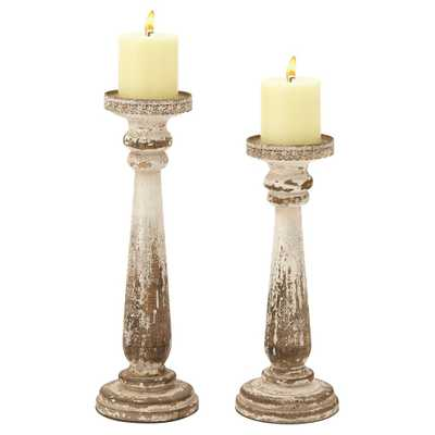 Rustic Reflections Wood Candle Holder Set 2ct - Olivia & May, Multi-Colored - Target