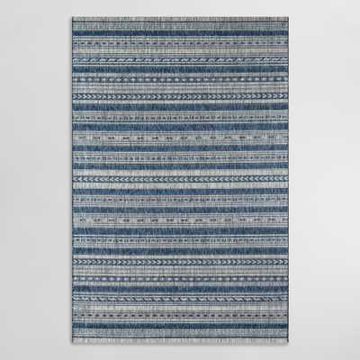 "Blue and Ivory Geometric Stripe Lucca Indoor Outdoor Patio Rug - Polypropylene - 9' x 12' by World Market 9Ft3""x12Ft6"" - World Market/Cost Plus"