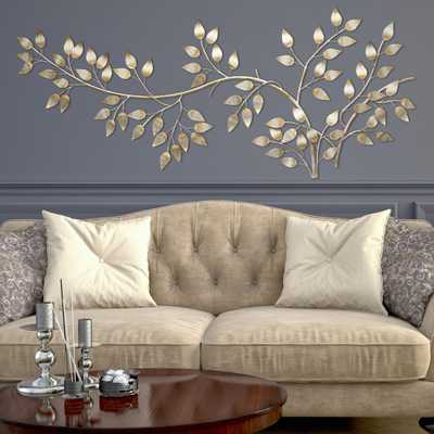 Brushed Gold Flowing Leaves Wall Decor - Home Depot