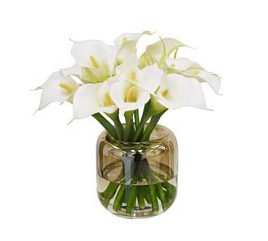 "Faux Calla Lily In Round Vase, White, 11"" - Pottery Barn"
