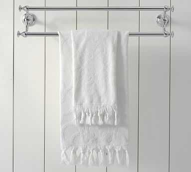 Sculpted Stonewashed Hand Towel, White - Pottery Barn