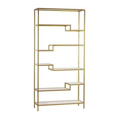Gold Open Bookcase, Gold/Mirror - Home Depot