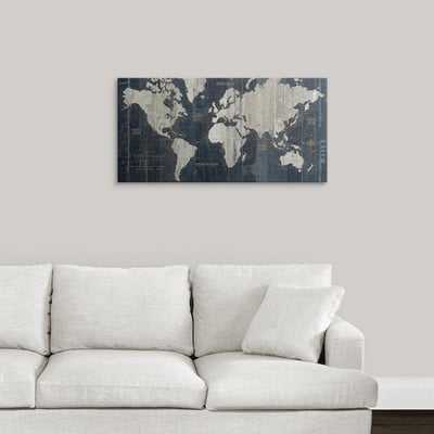 'Old World Map Blue' Graphic Art Print - Wayfair